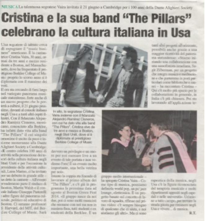 """In Folio: Cristina e la sua band """"The Pillars"""" celebrano la cultura Italiana in USA"""