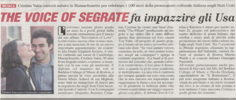 Segrate Oggi : The Voice of Segrate fa impazzire gli USA